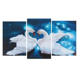 "Модульная картина на подрамнике ""Сказочные лебеди"" (2-31х44; 1-31х51) 93х51 см"