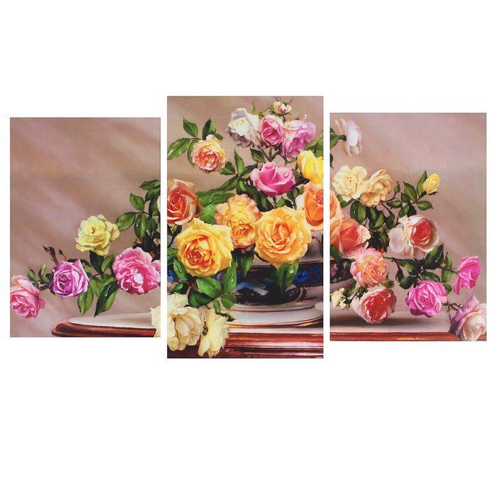 """Модульная картина на подрамнике """"Разноцветные розы"""" (2-31х44; 1-31х51) 93*51 см"""