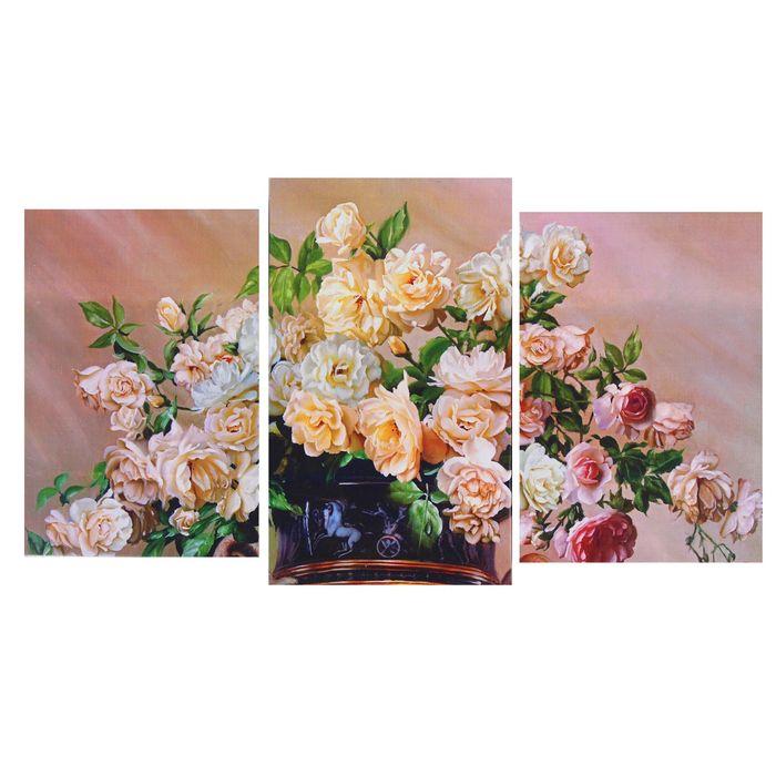 "Модульная картина на подрамнике ""Ваза с цветами"" (2-31х44; 1-31х51) 93х51 см - фото 1747359"