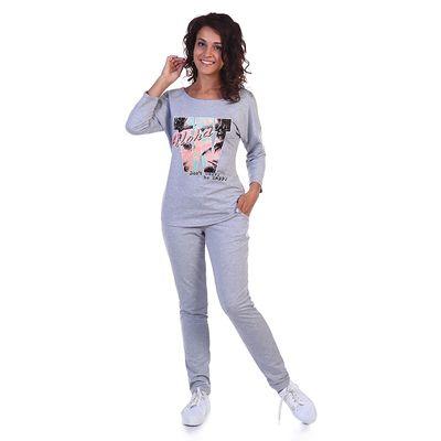 Комплект женский (джемпер, брюки) Aloha цвет серый меланж, р-р 52