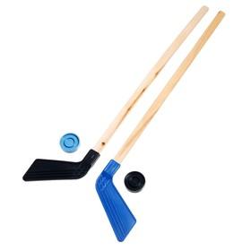 Набор 2 Клюшки хоккейных 80 см +2 шайбы (европодвес) Ош