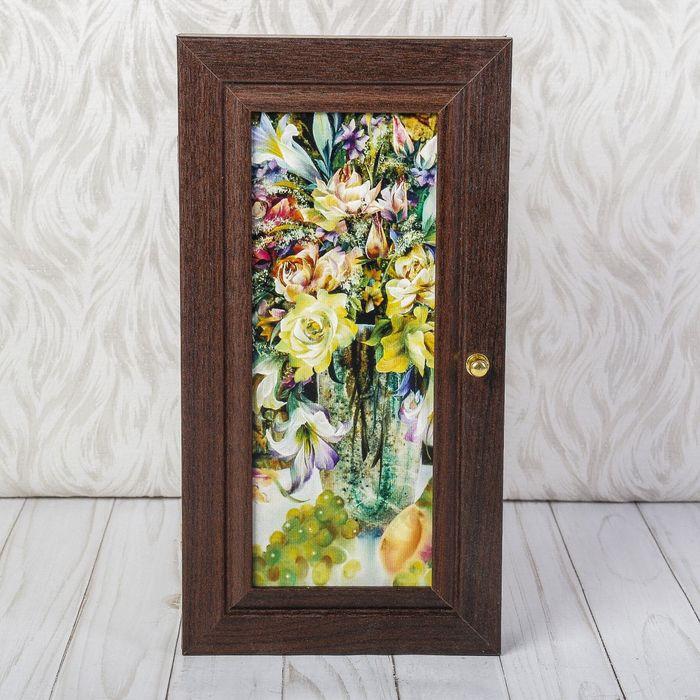 """Ключница """"Жёлтые цветы"""", венге"""