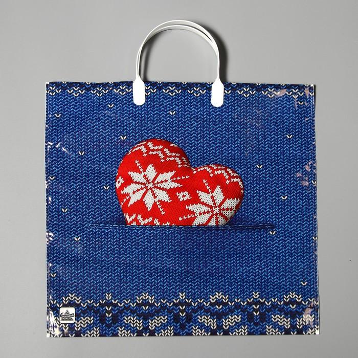 """Пакет """"Теплое сердце"""", полиэтиленовый с пластиковой ручкой, 35 х 36 см, 85 мкм - фото 308291861"""