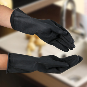 Protective chemical resistant gloves, latex, 100 grams, size L, color black