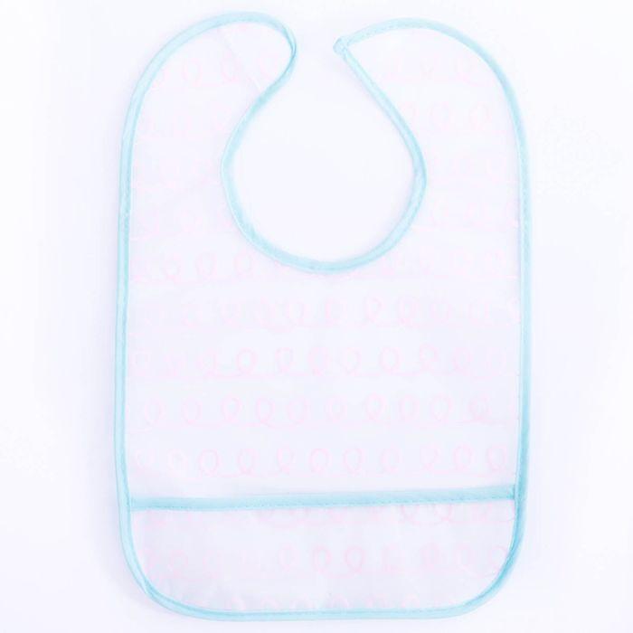 Нагрудник с карманом непромокаемый «Нежность», на липучке, цвет голубой
