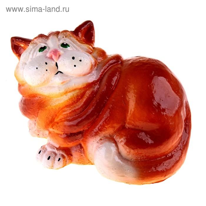 """Копилка """"Сидящий кот"""" рыже-белая"""