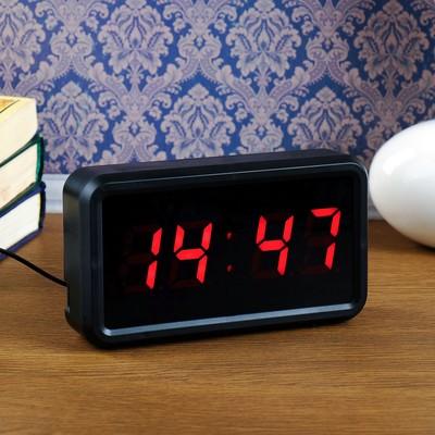 """Часы электронные """"Классика"""", настольные, красные цифры, 18х10х4 см"""