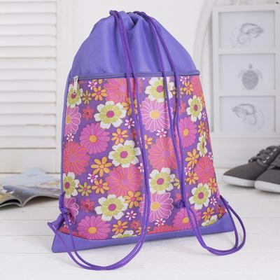 Сумка для обуви, наружный карман на молнии, цвет сиреневый/разноцветный