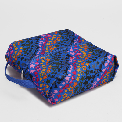 Сумка для обуви на молнии, 1 отдел, цвет синий/разноцветный