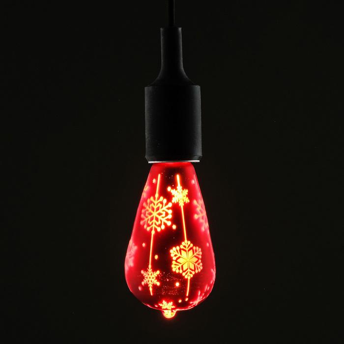 Лампа светодиодная декоративная «Снежинки», ST64, красная, 1,6 Вт, 220 В, тёпло-белый свет