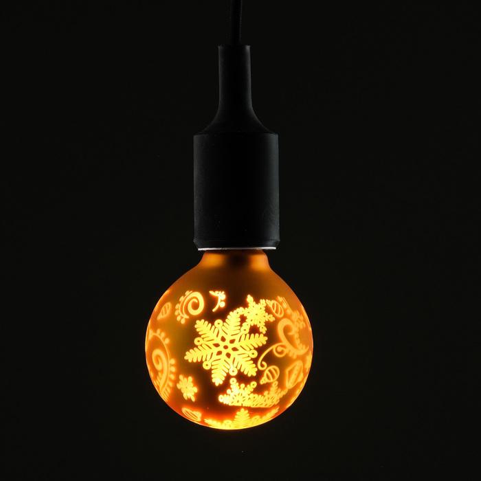 """Лампа светодиодная декоративная """"Снежинки"""" G80, желтая, 1,4 Вт, 220 В, ТЕПЛО-БЕЛЫЙ"""