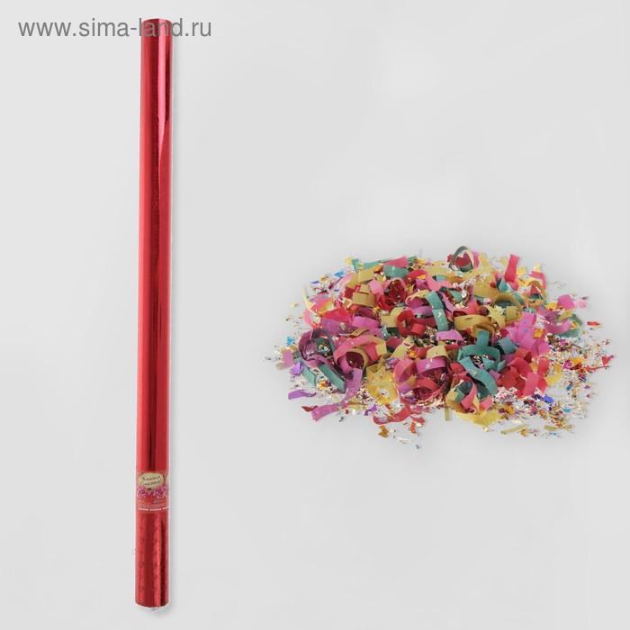 """Пневмохлопушка """"Желаем счастья!"""", красная (конфетти, фольга, серпантин)"""