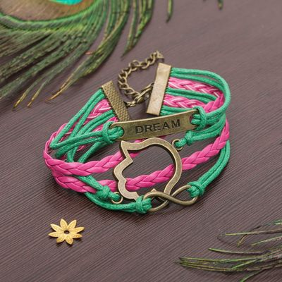 """Bracelet """"Magic signs"""" hand Hamsa and infinity, color pink-green"""