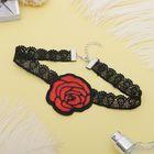 """Чокер """"Роуз"""" цветок распустившийся, цвет красно-чёрный"""