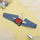 """Чокер """"Роуз"""" джинс, бутон, цвет красно-зелёный в синем"""