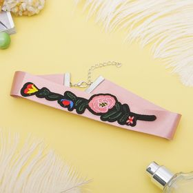 Choker rose satin, branch with flower, colorful