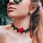 """Чокер """"Роуз"""" сердце, цвет красно-чёрный"""
