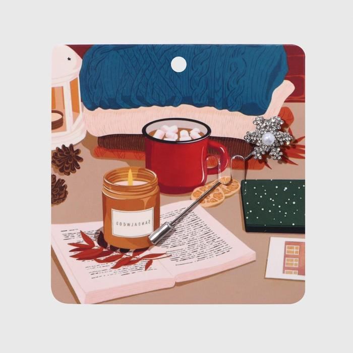 """Булавка """"Снежинка с бусиной"""" рождественская, 7,4 см, цвет белый в серебре - фото 234155721"""