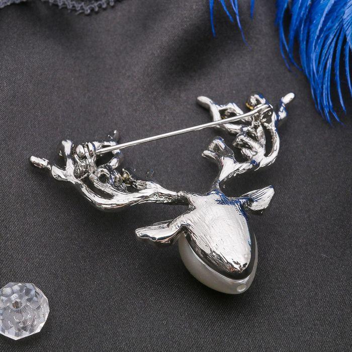 """Брошь """"Оленьи рога"""", разноцветная в серебре - фото 297888502"""