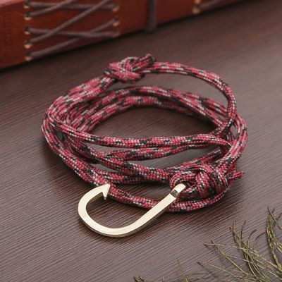 "Bracelet for men ""Sea breeze"" hook, color red and black"