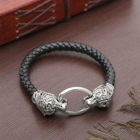 Браслет мужской 'Равновесие' тигр, цвет чёрный в чернёном серебре Ош