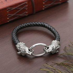 Браслет мужской 'Равновесие' волк, цвет чёрный в чернёном серебре Ош