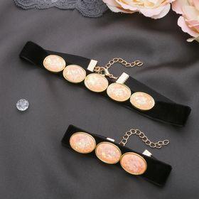 """Набор 2 предмета: чокер, браслет """"Жаклин"""" овалы, цвет чёрно-розовый в золоте"""