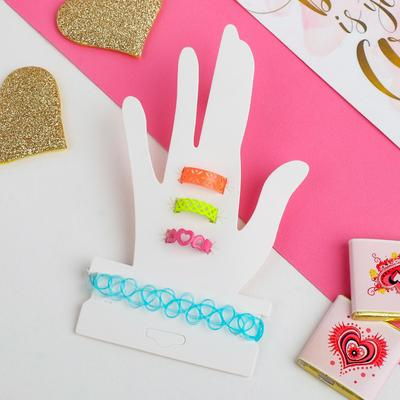"""A set of children's """"Strazacka"""" braided rings, 4 pieces: a bracelet, 3 rings, form MIX, MIX color"""