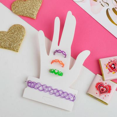 """A set of children's """"Strazacka"""" hearts, 4 items: a bracelet, 3 rings, form MIX, MIX color"""