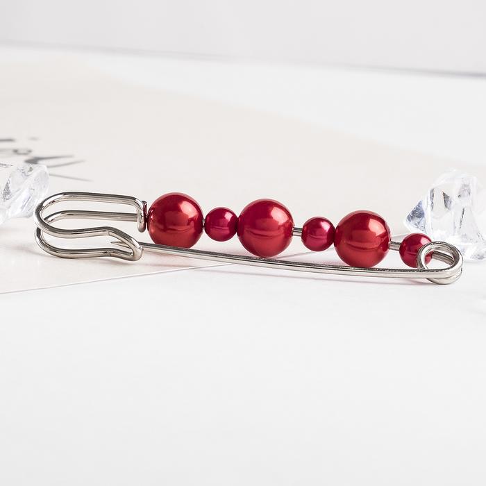 """Булавка """"Гранат"""", 7,3 см, цвет красный в серебре"""