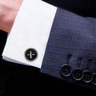 Запонки круг с эмалью, пуговка, цвет чёрный в серебре