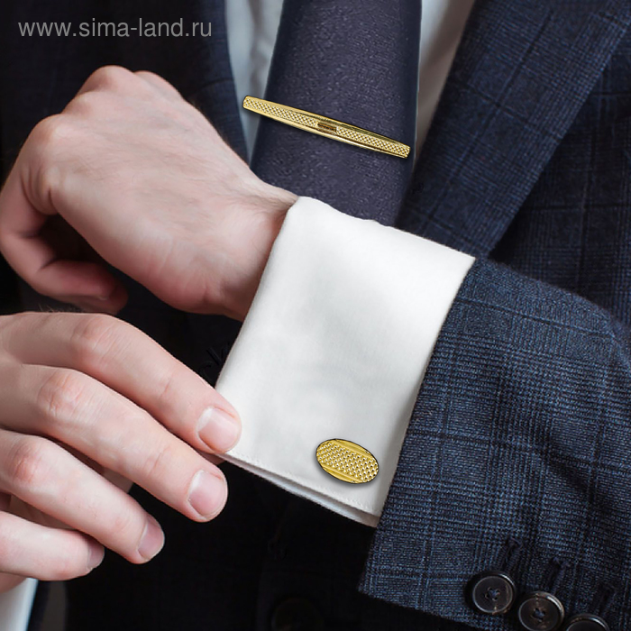 """Набор мужской """"Запонки + зажим для галстука"""" овал с резьбой, цвет чёрный в золоте"""