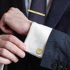"""Набор мужской """"Запонки + зажим для галстука"""" круг точечное нанесение, цвет золотой"""