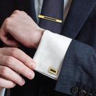 """Набор мужской """"Запонки + зажим для галстука"""" прямоугольник узкий с эмалью, цвет золотой"""