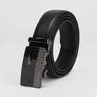 Ремень мужской, пряжка - автомат тёмный металл, ширина - 3,5 см, цвет чёрный