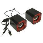 """Акустическая система 2.0 """"М8"""", провод 0.9 м, Jack3.5 и USB, регулятор громкости, красная"""