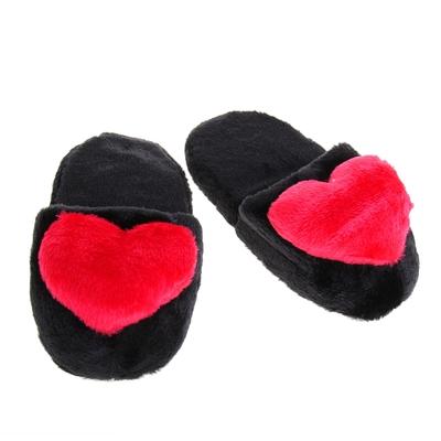 """Тапочки """"Сердца"""", 42 размер, цвет чёрный"""