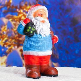 """Статуэтка """"Дед мороз с фонариком"""" с блестками 48см."""