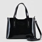 Сумка женская на молнии, отдел с перегородкой, наружный карман, длинный ремень, цвет чёрный