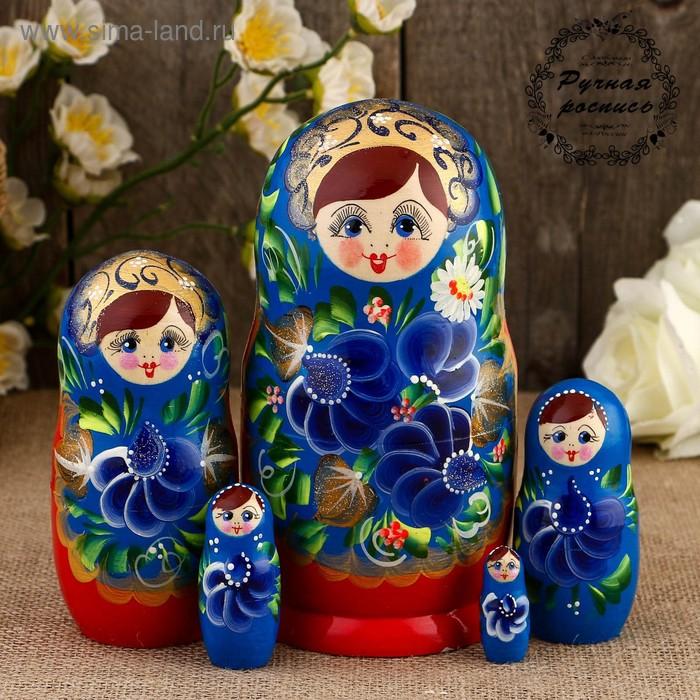 Матрёшка «Мария», голубой платок, 5 кукольная, 17 см