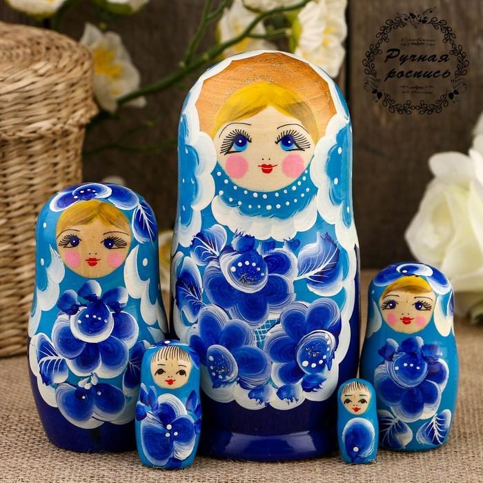 Матрёшка «Цветы», голубой платок, 5 кукольная, 15 см