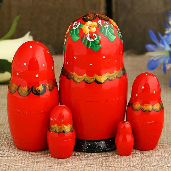 Матрёшка «Золотая корзинка», красный платок, 5 кукольная, 10,5 см