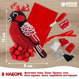 Новогодняя игрушка из фетра с вышивкой бисером «Снегирь»