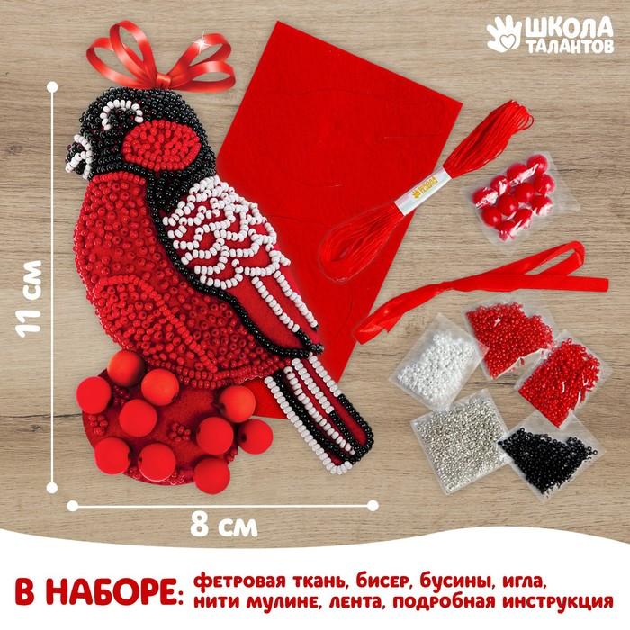 """Новогодняя игрушка из фетра с вышивкой бисером """"Снегирь"""""""