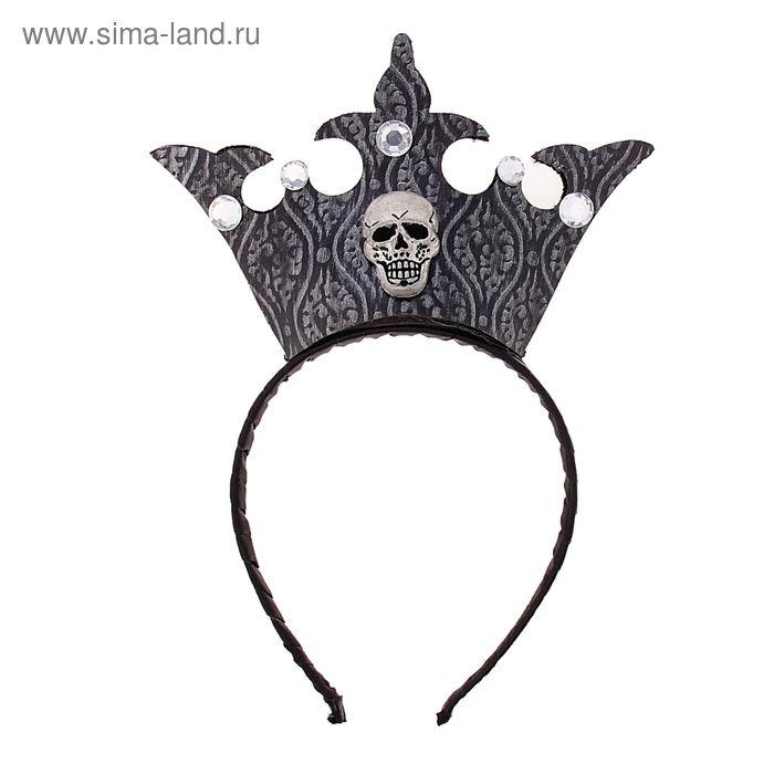 """Карнавальный ободок """"Корона с черепом"""", цвета МИКС"""