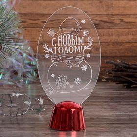 """Подставка световая """"Снеговик"""", 14.5х7.5 см, (батарейки в компл.), 1 LED, RGB микс - фото 1584064"""