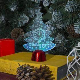"""Подставка световая """"Елочка с часами"""", 14х9.5 см, (батарейки в компл.), 1 LED, RGB микс"""