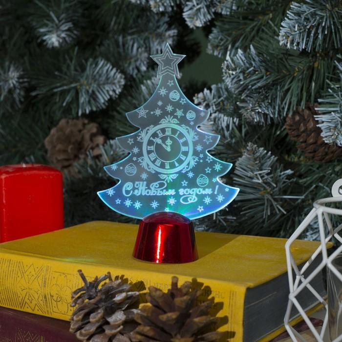 "Подставка световая ""Елочка с часами"", 14х9.5 см, (батарейки в компл.), 1 LED, RGB микс - фото 1584117"