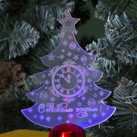 "Подставка световая ""Елочка с часами"", 14х9.5 см, (батарейки в компл.), 1 LED, RGB микс - фото 1584119"