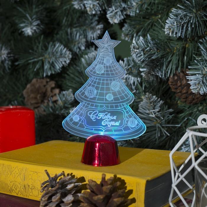 """Подставка световая """"Елочка с шариками"""", 14х9.5 см, (батарейки в компл.), 1 LED, RGB"""